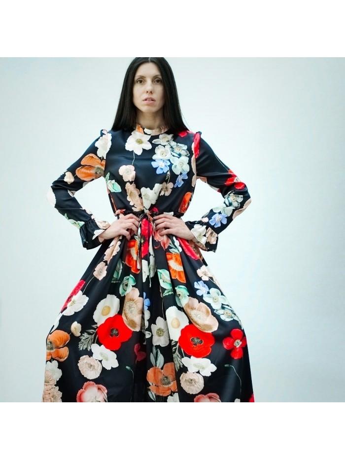 Natūralaus šilko suknelė Aguonos